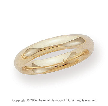14k Yellow Gold 4mm Heavy Comfort Fit Domed Wedding Band