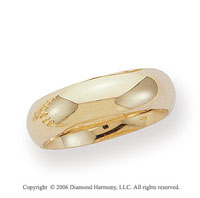 14k Yellow Gold 6mm Heavy Comfort-Fit Domed Wedding Band
