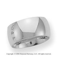 14k White Gold 10mm Heavy Comfort Fit Domed Wedding Band