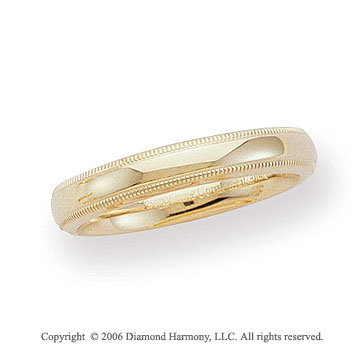 14k Yellow Gold 4mm Domed C-Fit Milgrain Wedding Band