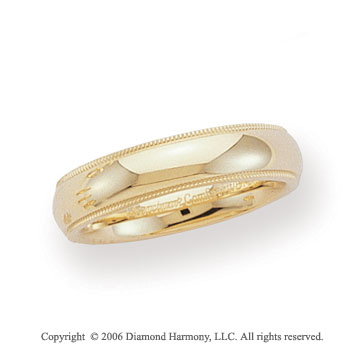 18k Yellow Gold 5mm Domed C-Fit Milgrain Wedding Band