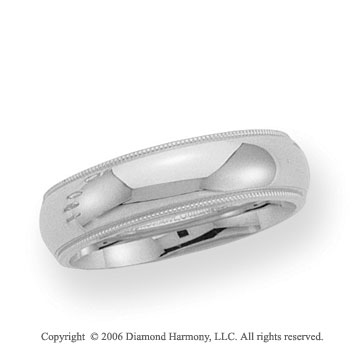 14k White Gold 6mm Domed C-Fit Milgrain Wedding Band