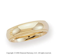 14k Yellow Gold 6mm Domed C-Fit Milgrain Wedding Band