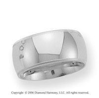 14k White Gold 10mm Domed C-Fit Milgrain Wedding Band