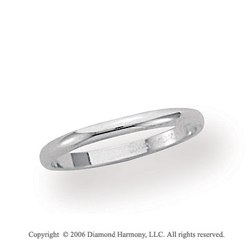 18k White Gold 2mm Plain Domed Standard Fit Wedding Band