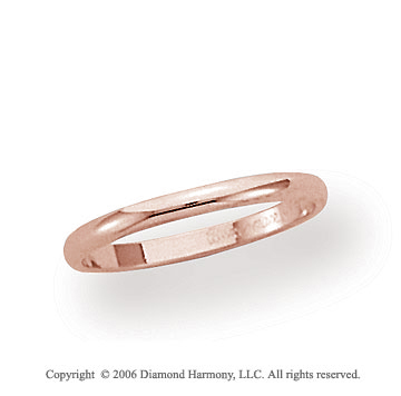 14k Rose Gold 2mm Plain Domed Standard Fit Wedding Band