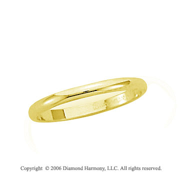 14k Yellow Gold 2mm Plain Domed Standard-F Wedding Band