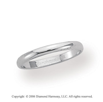 18k White Gold 2.5mm Plain Domed Standard-F Wedding Band