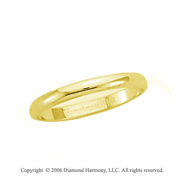 14k Yellow Gold 2.5mm Plain Domed S-Fit Wedding Band