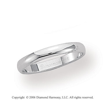 18k White Gold 3mm Plain Domed Standard-F Wedding Band