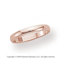 14k Rose Gold 3mm Plain Domed Standard-F Wedding Band