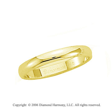 14k Yellow Gold 3mm Plain Domed Standard-F Wedding Band