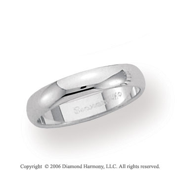 18k White Gold 4mm Plain Domed Standard Fit Wedding Band