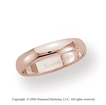 14k Rose Gold 4mm Plain Domed Standard Fit Wedding Band