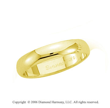 18k Yellow Gold 4mm Plain Domed Standard Fit Wedding Band