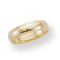 14k Yellow Gold 5mm Plain Domed Standard-F Wedding Band