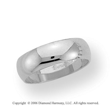 18k White Gold 6mm Plain Domed Standard-F Wedding Band