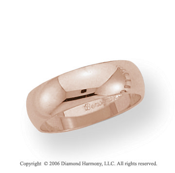 14k Rose Gold 6mm Plain Domed Standard-F Wedding Band