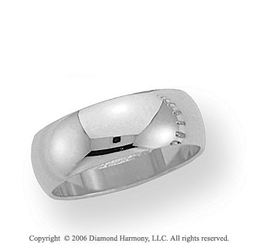 18k White Gold 7mm Plain Domed Standard-F Wedding Band
