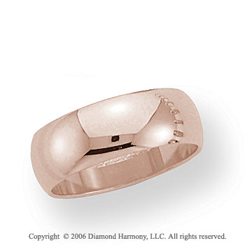 14k Rose Gold 7mm Plain Domed Standard-F Wedding Band