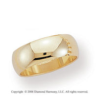 14k Yellow Gold 7mm Plain Domed Standard-F Wedding Band