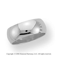 14k White Gold 8mm Plain Domed Standard Fit Wedding Band