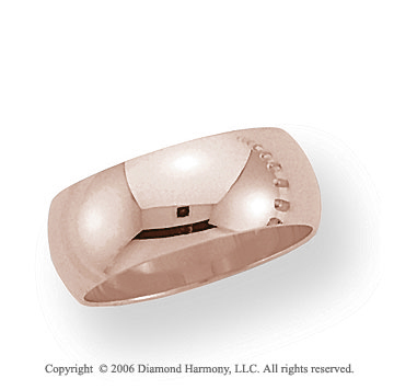 14k Rose Gold 8mm Plain Domed Standard Fit Wedding Band