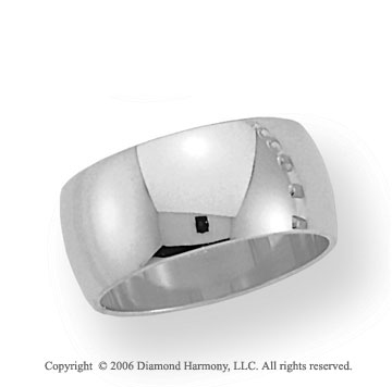 18k White Gold 10mm Plain Domed Standard-F Wedding Band