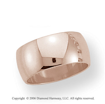 14k Rose Gold 10mm Plain Domed Standard-F Wedding Band