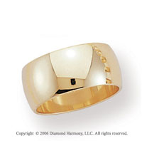14k Yellow Gold 10mm Plain Domed Standard-F Wedding Band