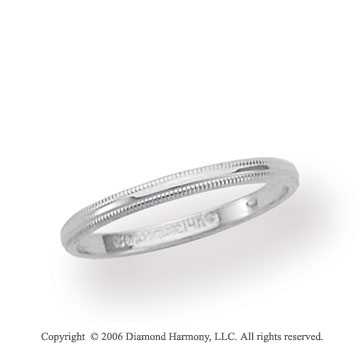 14k White Gold 2mm Domed S-Fit Milgrain Wedding Band