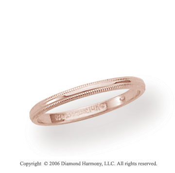 18k Rose Gold 2mm Domed S-Fit Milgrain Wedding Band