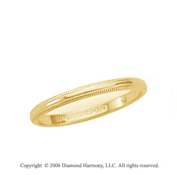18k Yellow Gold 2mm Domed S-Fit Milgrain Wedding Band