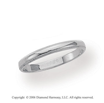 14k White Gold 2.5mm Domed S-Fit Milgrain Wedding Band
