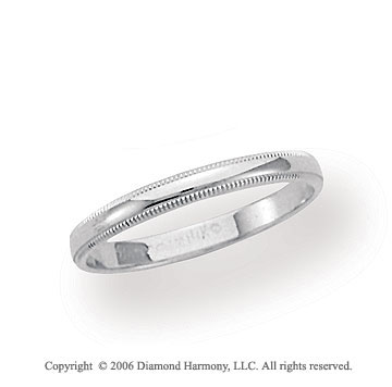 18k White Gold 2.5mm Domed S-Fit Milgrain Wedding Band