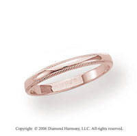 14k Rose Gold 2.5mm Domed S-Fit Milgrain Wedding Band