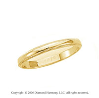 14k Yellow Gold 2.5mm Domed S-Fit Milgrain Wedding Band