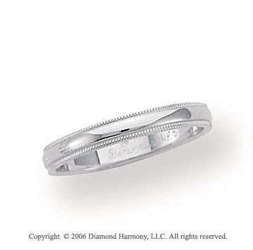 18k White Gold 3mm Domed S-Fit Milgrain Wedding Band