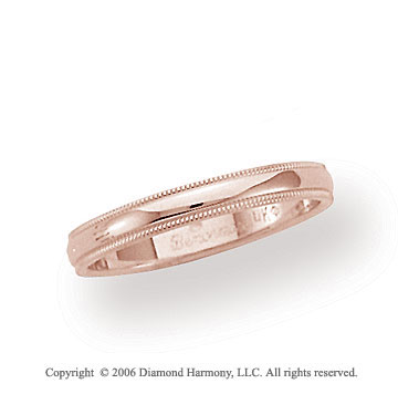 14k Rose Gold 3mm Domed S-Fit Milgrain Wedding Band