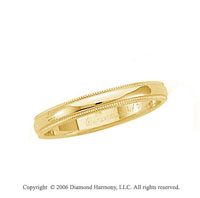 18k Yellow Gold 3mm Domed S-Fit Milgrain Wedding Band