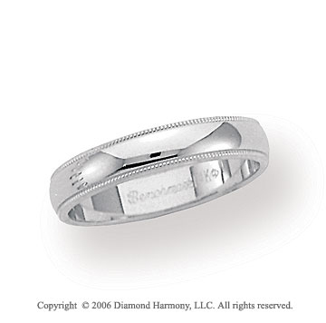 14k White Gold 4mm Domed S-Fit Milgrain Wedding Band