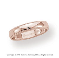14k Rose Gold 4mm Domed S-Fit Milgrain Wedding Band