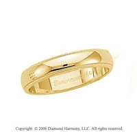 14k Yellow Gold 4mm Domed S/F Milgrain Wedding Band