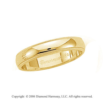 18k Yellow Gold 4mm Domed S-Fit Milgrain Wedding Band