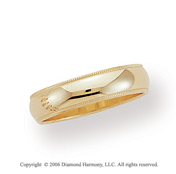 18k Yellow Gold 5mm Domed S-Fit Milgrain Wedding Band