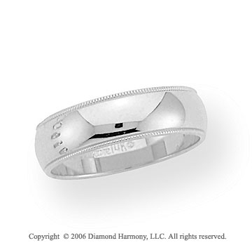 14k White Gold 6mm Domed S-Fit Milgrain Wedding Band