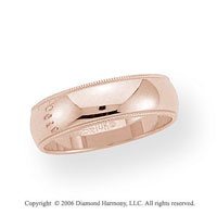 14k Rose Gold 6mm Domed S-Fit Milgrain Wedding Band