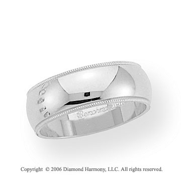 14k White Gold 7mm Domed S-Fit Milgrain Wedding Band