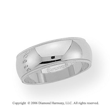 Palladium 7mm Domed S-Fit Milgrain Wedding Band