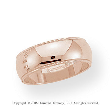 18k Rose Gold 7mm Domed S-Fit Milgrain Wedding Band